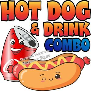 Hot Dog & Drink Combo DECAL (Choose Your Size) Food Truck Concession Sticker