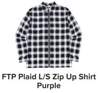 FTP PURPLE PLAID SHIRT CHECKERED L/S ZIP UP MEDIUM M SUPREME KITH FOULPLAY