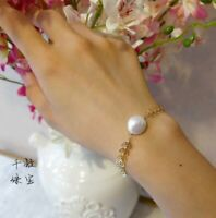 beautiful AAA12-13mm natural white baroque south sea Pearl bracelet Gold plating
