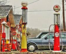 Old Photo.  Antique Gas Station Pumps