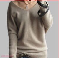 Women's Long Sleeve Wool Blend V-Neck Batwing Knitted Loose Sweater Plus Size