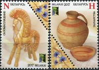 BELARUS 2017 National Crafts Art objects odd shape se-tenant stamps 2v