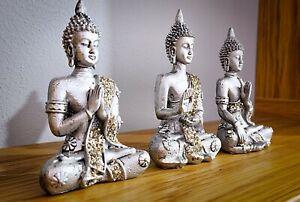 Buddha Statue/Ornament Hand painted Shiny Grey Gold Zen Decoration 10cm 3 Pose