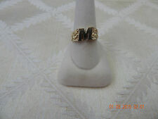 """10K yellow gold initial ring, initial """"M"""", size 10, 4.40 grams"""