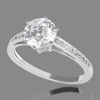 1.31 CT F-G/SI1-SI2 Round Cut Enhanced Diamond Engagement Ring 14K White Gold