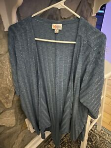 Lularoe Lindsay Cardigan Kimono Solid Aqua Blue Teal Ribbed Stripe Medium NWOT