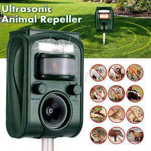 Ultrasonic Solar Powered Animal Repeller Dog Cat Deer Raccoon Repellent Garden -