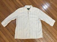 EDDIE BAUER Beige Striped Button Down 3/4 Sleeves Shirt Blouse Top Size XL