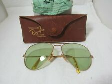 Vintage Ray Ban Bausch & Lomb 1/10 12K Gf Gold Aviator Sunglasses Tru Green 40s