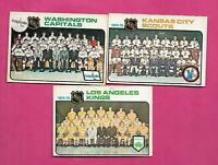 1975-76 OPC SCOUTS + CAPS + KINGS  UNMARKED TEAM CHECKLIST  CARD (INV# D4415)
