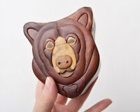 "Wood Puzzle Box, Bear Motif, Very Cute 4.5"" x 3.5"" Trinket Box"