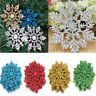 10Pcs Christmas Glitter Snowflakes Tree Topper Hanging Ornament DIY Home Decor