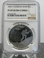 1991 P silver dollar commenorative proof Korean War NGC PF69UC with box & coa