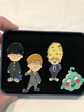 Nice Lot of 4 Mob Psycho 100 Lapel Pin Set w/ Case Free Ship in Usa