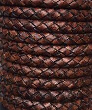 Genuine Round Bolo Braided Leather Cord 6 ply - 6 mm 1 Yard - Ship Fast