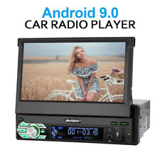 Single Din Android 9.0 Car Stereo GPS Navi w/7in Flip Out Wifi Bluetooth AUX USB