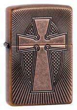 Zippo Armor Deep Carve Cross Antique Copper Windproof Pocket Lighter, 49158
