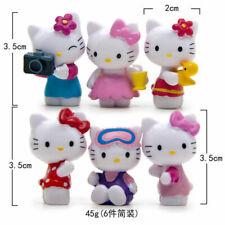 6pcs Hello Kitty Anime Figure Cute Model Doll Decoration Cake Topper AAA