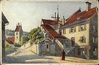 Bregenz Vorarlberg AK ~1920/30 Aufgang zum Kapuziner Kloster Aquarell-Karte 583