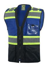 Surveyor Blueblack Two Tones Safety Vest Ansi Isea Photo Id Pocket 802bl