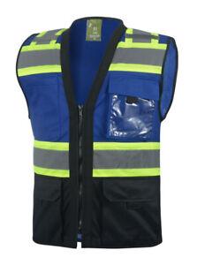 Surveyor Blue/Black Two Tones Safety Vest, ANSI/ ISEA  Photo ID Pocket (802BL)