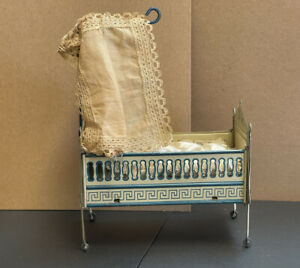 Ornate Vintage Dollhouse Miniature Pressed Tin Baby Nursery Bed with Bedding