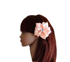 Peach Hair Clip. Hair Flower Clip. Baby And Child Hair Clip. Ribbon Hair Clip.