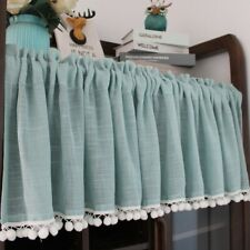 Ruffled Cafe Curtain Pompom Balls Trims Kitchen Half Curtains Village Home Decor