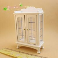1/12 dollhouse miniature furniture modern white wooden display cabinet