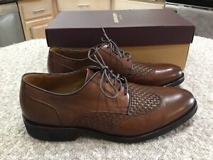 "JOHNSON & MURPHY Men's Sz 11.5  M ""Carlson Woven Wingtip""Dress 👞 BROWN NEW"