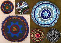 Suzani Embroidery Round Cushion Cover Indian Cotton Pillow Case Cover Throw 16""