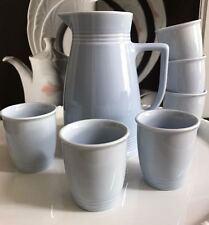 Lilien Porcelain Jug Wine Jug Juice Jug with 6 Mug in Blue Drinking Set Of