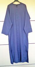 Djellaba en laine bleu, broderie ajourée _ Fait main, taille 36 / XS à 42 / XL