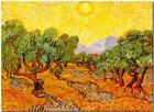 "Vincent Van Gogh *FRAMED* CANVAS ART Sun over Olive Grove 16""X 12"""