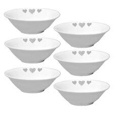 Set Of 6 Modena 7Inch Porcelain Dinner Bowl Heart Design Soup Rice Dining Bowls