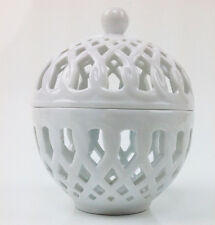 """Basic Porcelana Home Essential Pierced Box , Covered  Candy bowl 5"""" White"""