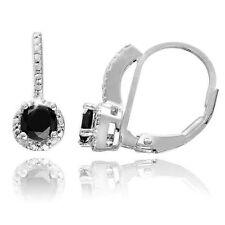 Genuine Black 0.50ctw Diamond Leverback Earrings 14k White Gold over 925 SS