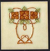 Exquisite reclaimed antique tile Art Nouveau Majolica Cream Olive caramel rose