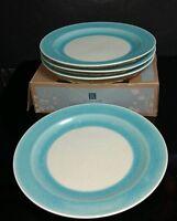"NEW in Box Set of 4) ROSCHER AQUA Blue CRACKLE GLASS Glazed 10.5"" DINNER PLATES"