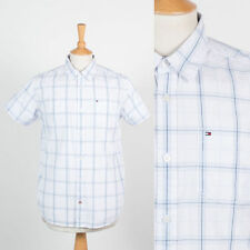 MENS TOMMY HILFIGER SHIRT WHITE & BLUE PLAID CHECK SHORT SLEEVE CASUAL S