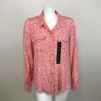 Lucky Brand Georgia Floral Print Blouse L Button Front Pink Long Sleeve Shirt