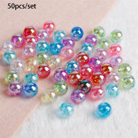 50Pcs 8mm AB Color Round Acrylic Bead Loose Spacer Beads with Hole DIY Jewelry