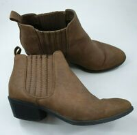 F&F size 5 (38) tan brown faux leather cuban heel cowboy Chelsea ankle boots