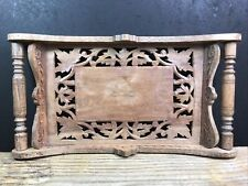 More details for handcarved indian wood handled ornate tray with small brass inlay