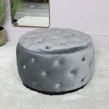 Grey Velvet Buttoned Footstool vintage luxury bedroom seating living room decor