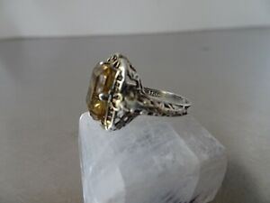 Antique Victorian Sterling Silver/ Citrine Ring/Size 4.5/ pinky ring