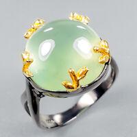Fine Art Jewelry Natural Prehnite 925 Sterling Silver Ring Size 9.5/R122721
