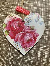 SHABBY CHIC Cath Kidston Decoupage Wood Hanging Heart 8cm Old Rose Gift Home