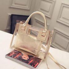 Women Transparent Handbag Shoulder Bag Clear Jelly Purse Clutch Plastic Tote