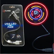 Flexible Colorful LED Light Mini USB Fan Cooling for Notebook Laptop Computer